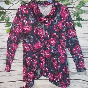 NWT Joseph A. cowl neck long sleeve floral top M